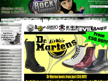 rocky horrors for alternative clothing and footwear